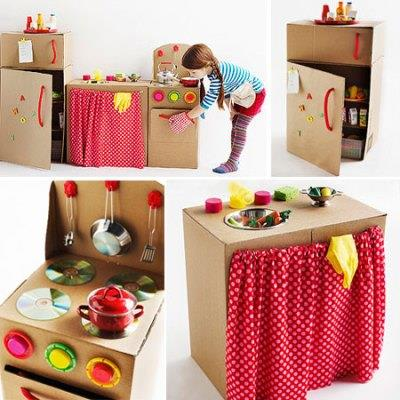 ¡Cocina de cartón para jugar!