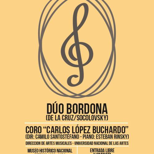 """Concierto del """"Dúo Bordona"""" y del Coro """"Carlos López Buchardo""""."""