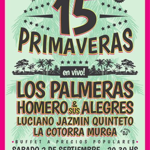 LOS PALMERAS en Rosario: 15 Primaveras de El Aserradero - Sábado 2 de septiembre