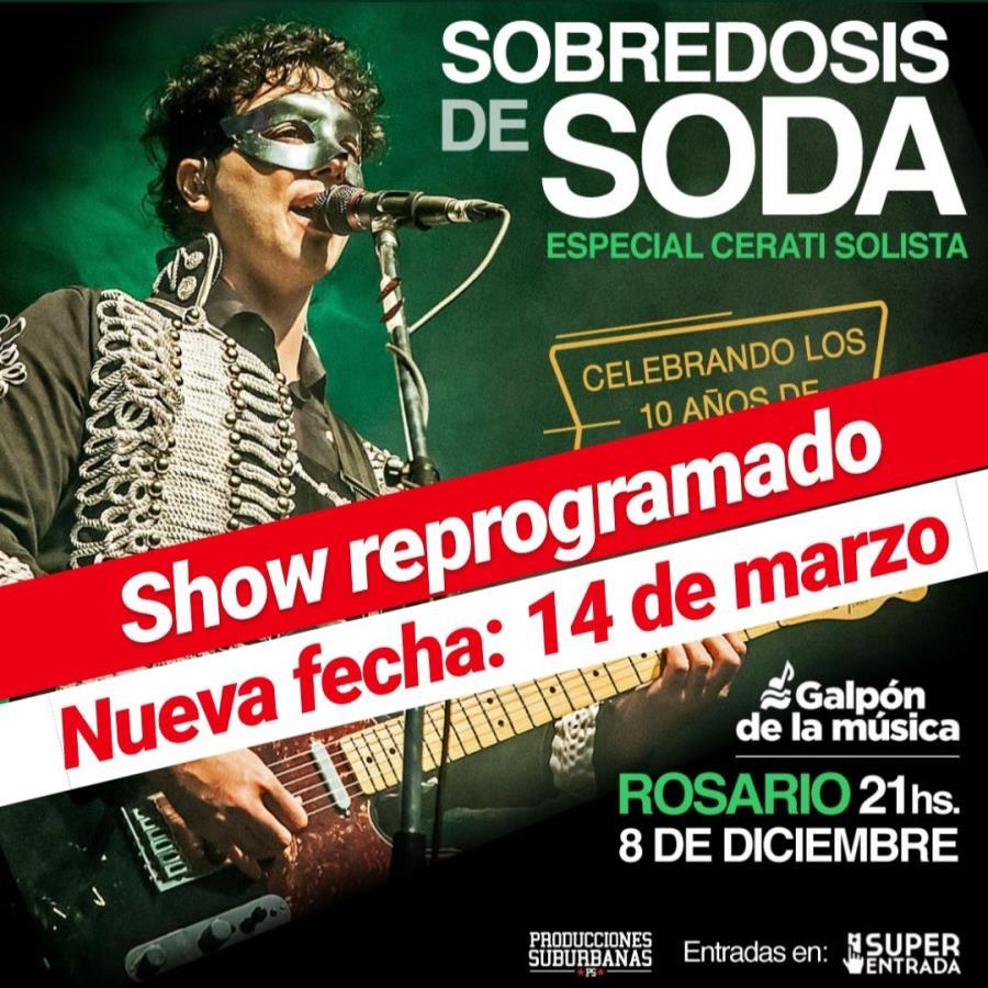 Sobredosis de Soda. La banda tributo a Soda Stereo llega a Rosario ¡Show reprogramado!