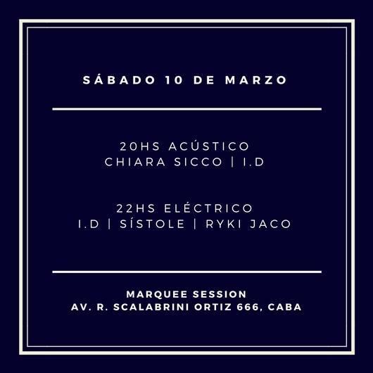 Este sábado: Chiara Sicco, I.D, Sístole y Ryki Jaco en Marquee