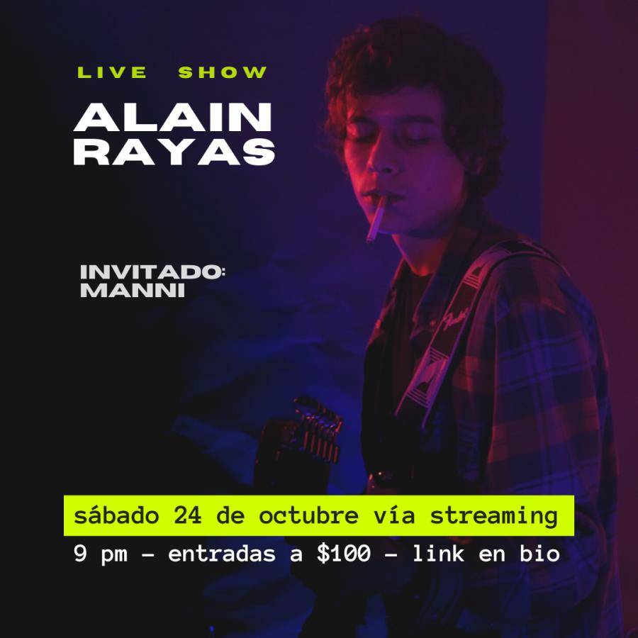 Alain Rayas ofrecerá un show por streaming este 24 de octubre
