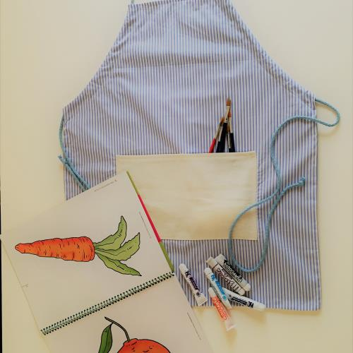 Kit Delantal para pintar + libro + temperas + pinceles