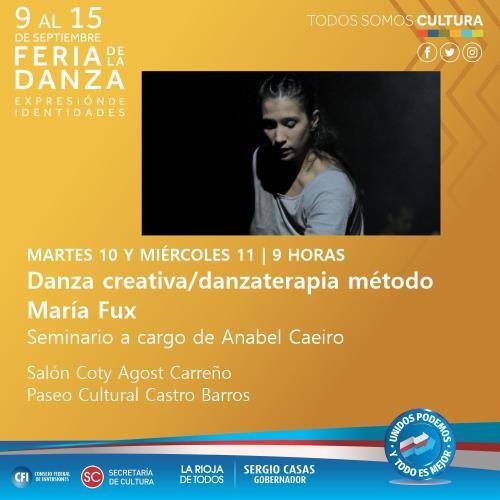 1º Feria de la Danza La Rioja 2019. Capacitación del Método María Fux por Anabel Caeiro