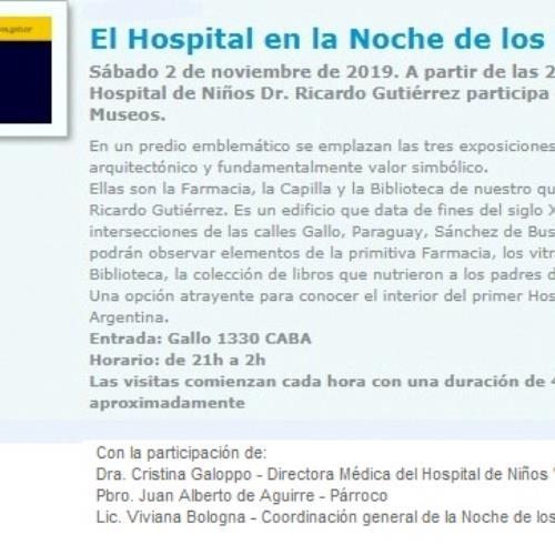 """El Museo del Hospital de Niños """"Ricardo Gutiérrez"""" en la Noche de los Museos"""