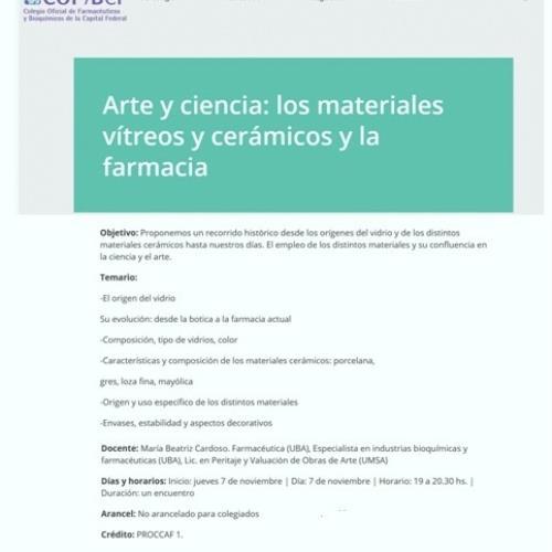 Arte y Ciencia: los materiales vítreos y cerámicos y la Farmacia