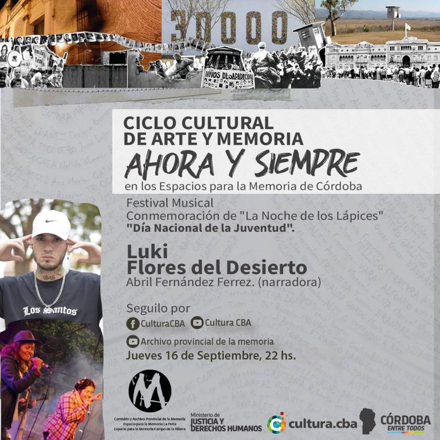 Ahora y siempre, arte y Memoria en los Espacios para la Memoria de Córdoba: Luki y Flores del desierto