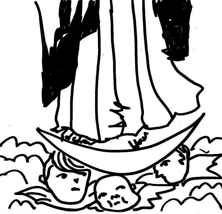 La virgen pisando a los ángeles
