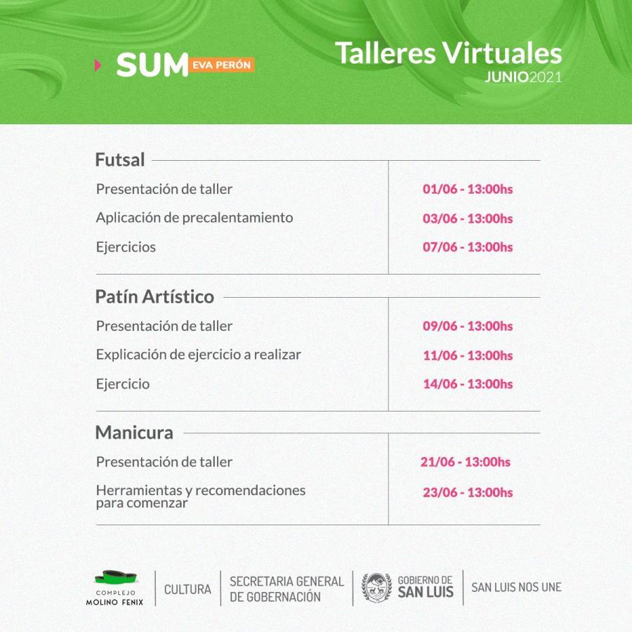 TALLERES VIRTUALES DEL SUM EVA PERÓN