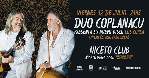 """Duo Coplanacu presenta """"Los Copla"""" en Niceto"""
