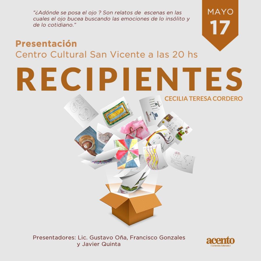 """Presentación del libro """"Recipientes"""" de Cecilia Teresa Cordero"""