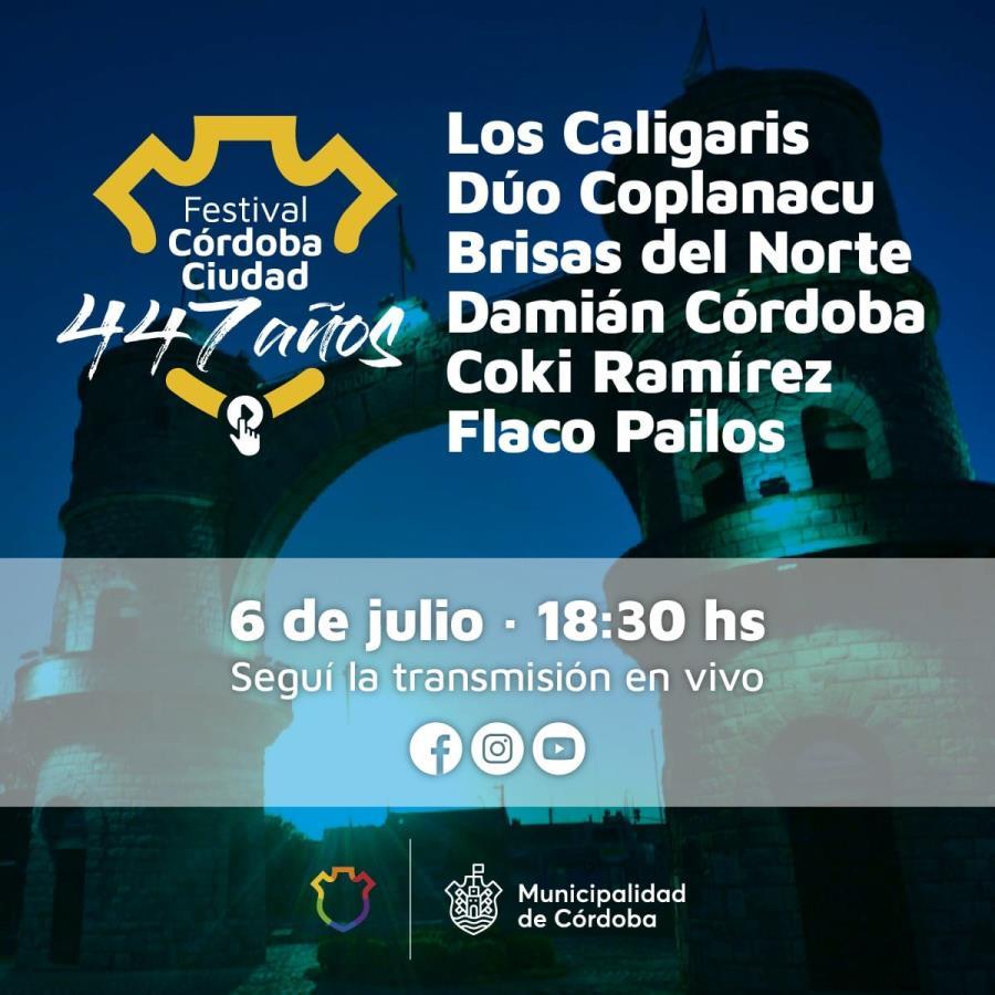 Gran festival virtual de música y humor para celebrar los  447 años de la Fundación de Córdoba.