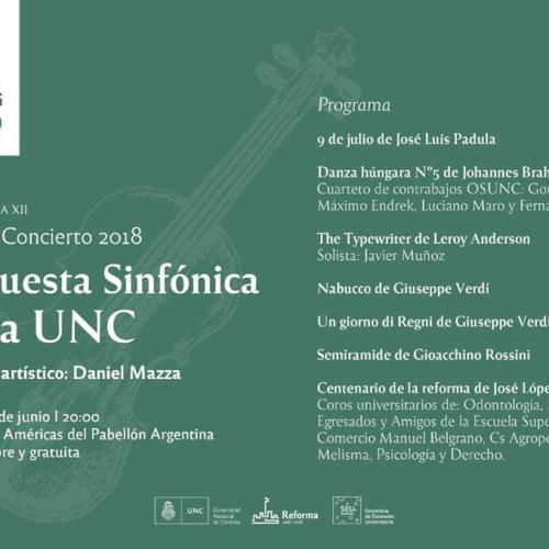 Orquesta Sinfónica de la UNC Cuarto Concierto Temporada 2018