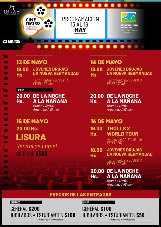 CINE UNQUILLO: CARTELERA DEL 13 AL 16 DE MAYO